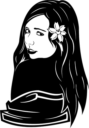 Beautiful Girl with a flower. Girls.Vector illustration ready for vinyl cutting. Stock Vector - 8758574