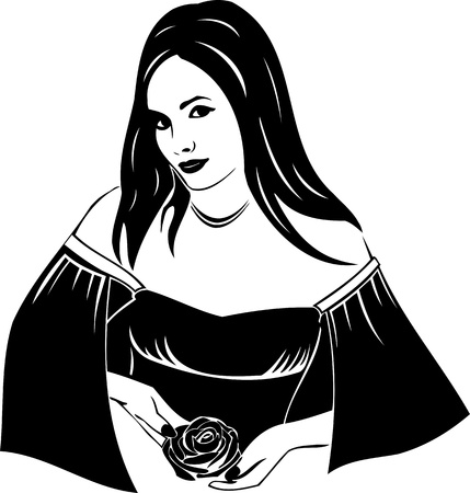 sensuality: Beautiful Girl with a flower. Girls.Vector illustration ready for vinyl cutting.