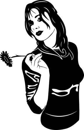 Beautiful Girl with a flower. Girls.Vector illustration ready for vinyl cutting. Stock Vector - 8758514