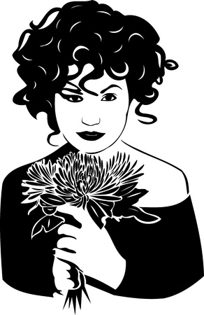 Beautiful Girl with a flower. Girls.Vector illustration ready for vinyl cutting. Vector