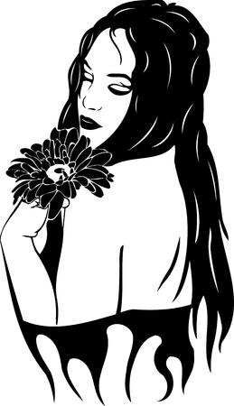 Hermosa chica con una flor. Ilustración Girls.vector listo para corte de vinilo.
