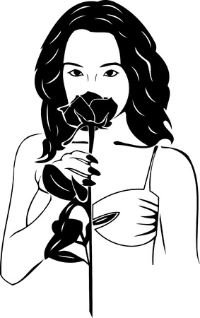 Beautiful Girl with a flower. Girls.Vector illustration ready for vinyl cutting. Stock Vector - 8758421