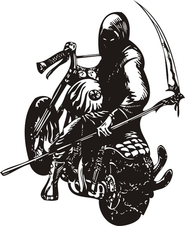 sattel: Crazy Biker.Vector Illustration.