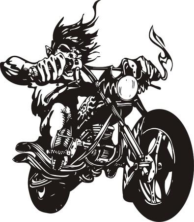 chopper: Crazy Biker. Vector Illustration.