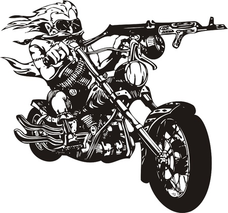 Crazy Biker. Vector Illustration.  Vector