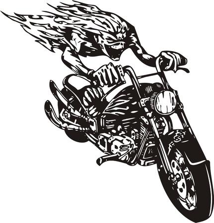biker: Crazy Biker. Vector Illustration.