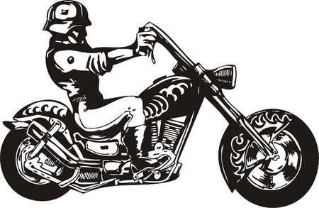 Crazy Biker. Vector Illustration.