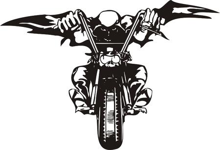 Biker on Motorcycle. Vector Illustration.