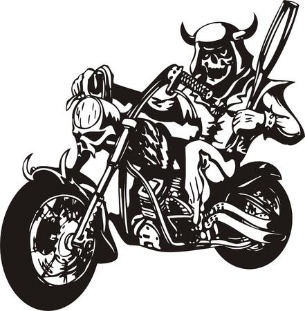 cycle race: Biker on Motorcycle. Vector Illustration.