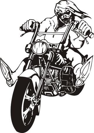 saddle: Biker on Motorcycle. Vector Illustration.