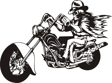 Biker on Motorcycle. Vector Illustration.
