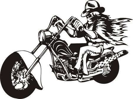 Biker on Motorcycle. Vector Illustration. Stock Vector - 8777469