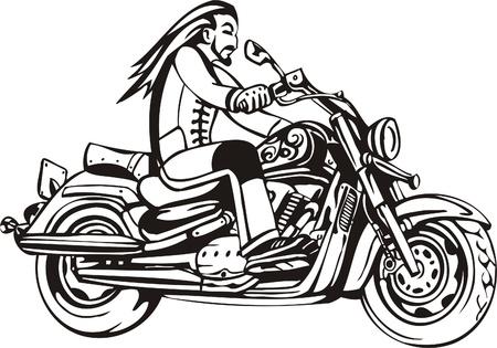 Biker on Motorcycle. Vector Illustration.  Stock Vector - 8777335