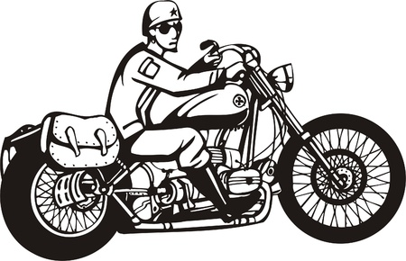 Biker on Motorcycle. Vector Illustration. Stock Vector - 8777479