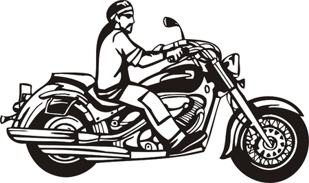 participate: Biker on Motorcycle. Vector Illustration.