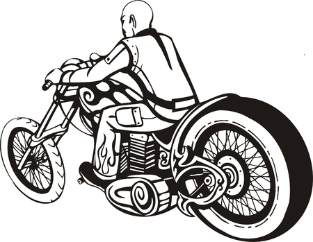 Biker on Motorcycle. Vector Illustration.  Stock Vector - 8777443