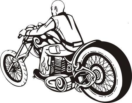 Biker on Motorcycle. Vector Illustration. Stock Vector - 8777443