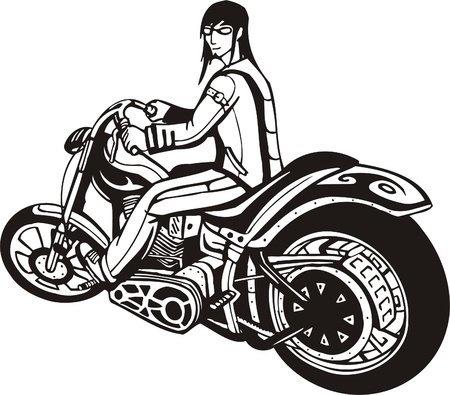Biker on Motorcycle. Vector Illustration. Stock Vector - 8777441