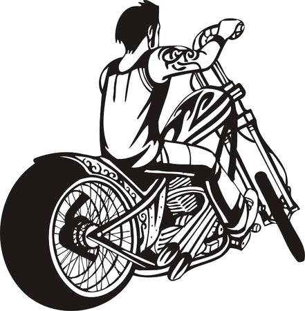 Biker moto. Illustration vectorielle.