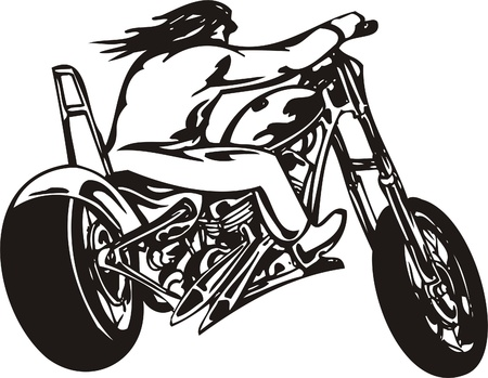 Biker on Motorcycle. Vector Illustration. Stock Vector - 8777249
