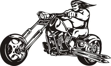 Biker on Motorcycle. Vector Illustration.  Stock Vector - 8777389