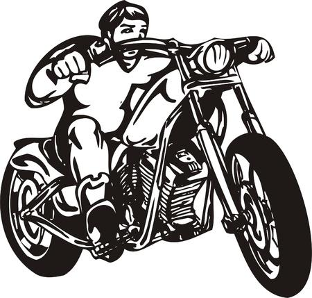 Biker on Motorcycle. Vector Illustration.  Vector