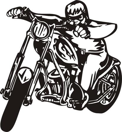 Biker on Motorcycle. Vector Illustration. Stock Vector - 8777277