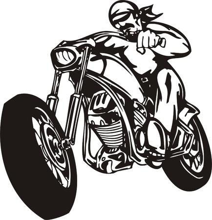 Biker on Motorcycle. Vector Illustration. Stock Vector - 8777273