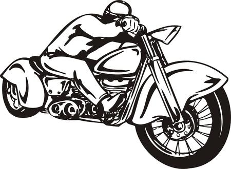 Biker del motociclo. Illustrazione vettoriale.