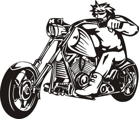 Biker on Motorcycle. Vector Illustration.  Stock Vector - 8777383