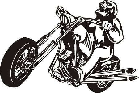 motorbike race: Biker on Motorcycle. Vector Illustration.