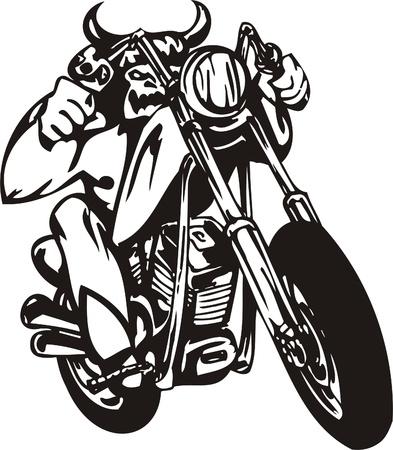 Biker on Motorcycle. Vector Illustration. Stock Vector - 8777251