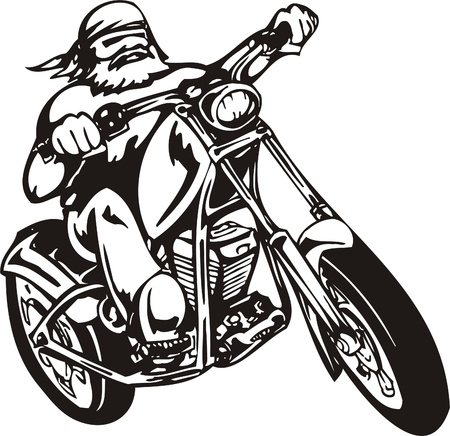 biker: Biker on Motorcycle. Vector Illustration.