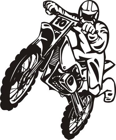 chopper: Biker on Motorcycle. Vector Illustration.