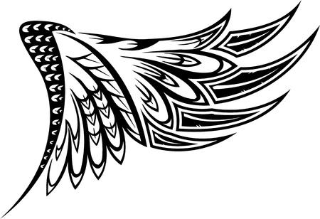 tatouage ange: Wings.Vector illustration pr�te pour la d�coupe de vinyle.
