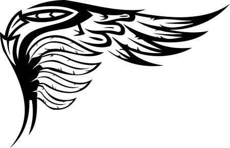 tattoo engel: Wings.Vector illustration ready for vinyl cutting.
