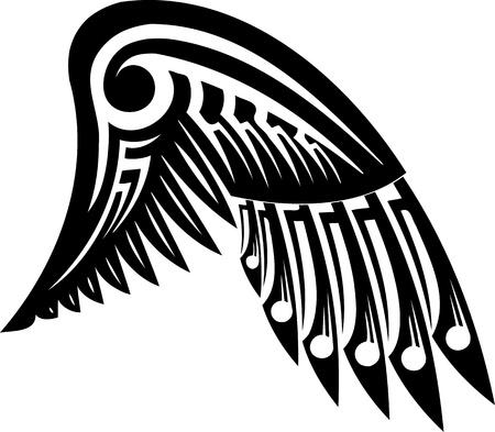 silueta de angel: Ilustraci�n de Wings.vector listo para corte de vinilo. Vectores
