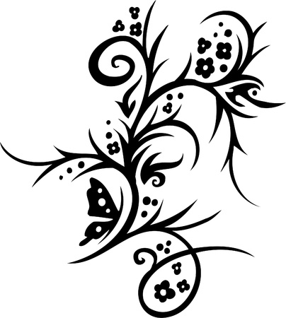tendril: Floral Design Element - Vinyl-ready vector image!