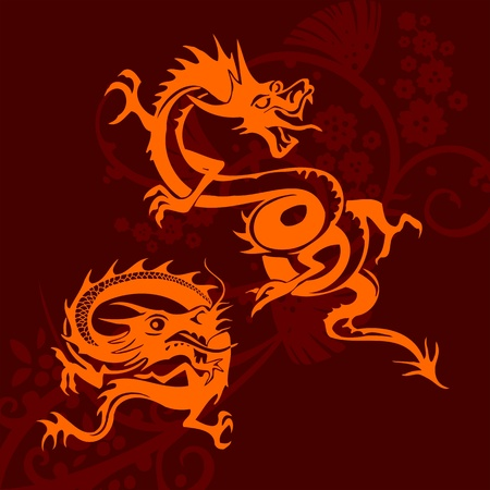 Chinese Dragons - vinyl-ready vector set! photo