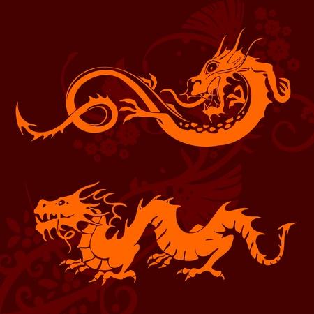 Chinese Dragons - vinyl-ready vector set! photo