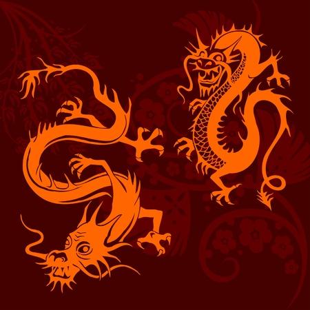 Chinese Dragons - vinyl-ready vector set! Stock Photo - 11675228