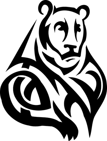Tribal Grizzly Bear - vinyl-ready vector illustration!  Vector