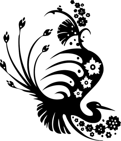 east asian ethnicity: Floral Design - Vinyl-ready vector image!