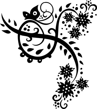 floral scroll: Floral Design - Vinyl-ready vector image!