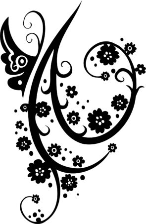 japanese ethnicity: Floral Design - Vinyl-ready vector image!