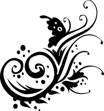 tribal design: Floral Design - Vinyl-ready vector image!