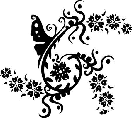 antique asian: Floral Design - Vinyl-ready vector image!