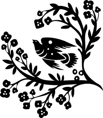 dessin tribal: Floral Design - image vectorielle Vinyl-pr�t!