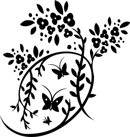 tendrils: Chinese Floral Design - Vinyl-ready vector image!