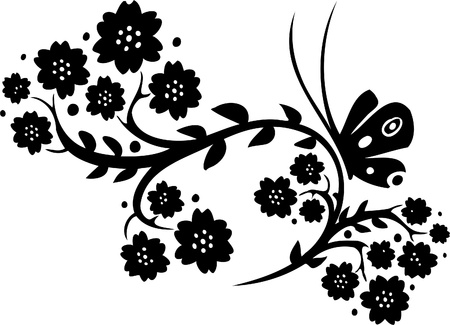 tendril: Chinese Floral Design - Vinyl-ready vector image!